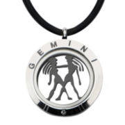 Mens Two-Tone Stainless Steel Gemini Zodiac Pendant Necklace