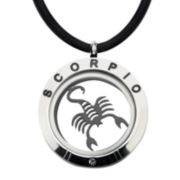 Scorpio Zodiac Reversible Stainless Steel Locket Pendant Necklace