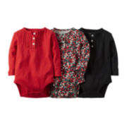 Carter's® 3-pk. Long-Sleeve Bodysuits - Baby Girls newborn-24m