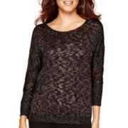 Liz Claiborne® Dolman-Sleeve Lurex® Metallic Slub Sweater
