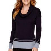 Liz Claiborne® Long-Sleeve Cowlneck Border-Striped Knit Top - Tall