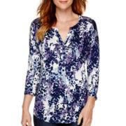 Liz Claiborne® 3/4-Sleeve Print Henley Tunic