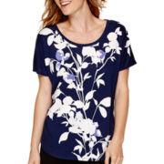 Liz Claiborne® Short-Sleeve Floral Print T-Shirt
