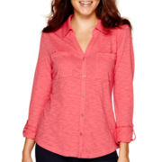 Liz Claiborne® Long-Sleeve Roll-Cuff Knit Shirt