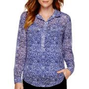 Liz Claiborne® Long-Sleeve Woven Henley Top
