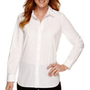 Liz Claiborne® Long-Sleeve Woven Button-Front Tunic Shirt