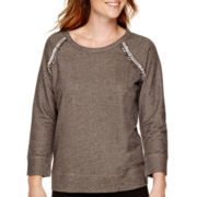 Liz Claiborne® Raglan-Sleeve Jeweled-Shoulder Sweatshirt