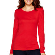 Liz Claiborne® Long-Sleeve Knit T-Shirt