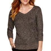 Liz Claiborne® 3/4-Sleeve Metallic Pullover