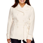 Jou Jou Long-Sleeve Fleece Trench Coat - Plus