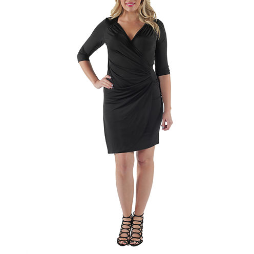 24/7 Comfort Apparel Side-Gathered Wrap Dress-Plus