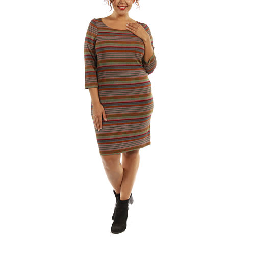 24/7 Comfort Apparel Irresistible Striped Sheath Dress-Plus