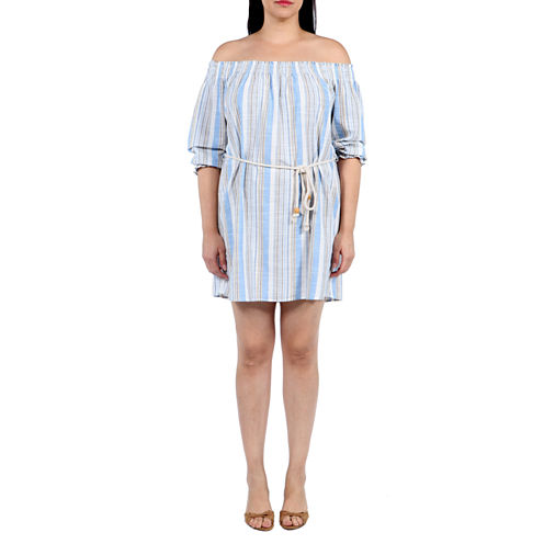 24/7 Comfort Apparel Trade Winds Shift Dress-Plus