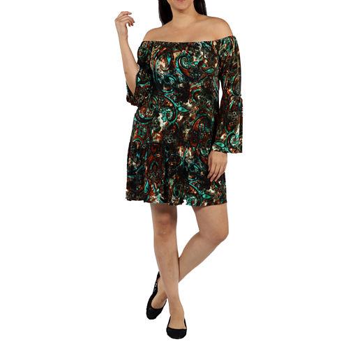 24/7 Comfort Apparel Peacock Shift Dress-Plus