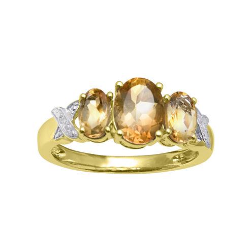 Genuine Citrine Diamond-Accent Ring