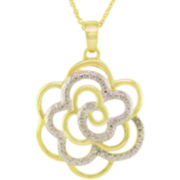 Diamond-Accent Flower Pendant In 14K Gold Over Sterling Silver