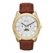 Relic® Mens Gold-Tone Lunar Phase Leather Strap Watch