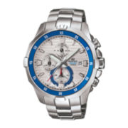 Casio® Edifice Marine Mens Silver-Tone Chronograph Watch