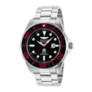 Invicta® Pro Diver Mens Silver-Tone & Red Bracelet Watch