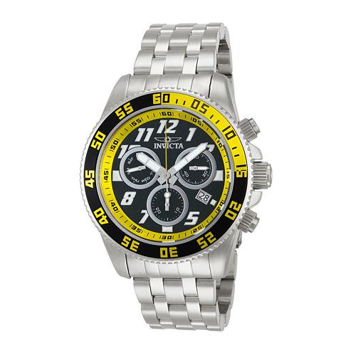Invicta® Pro Diver Mens Silver-Tone & Yellow Chronograph Watch 14510