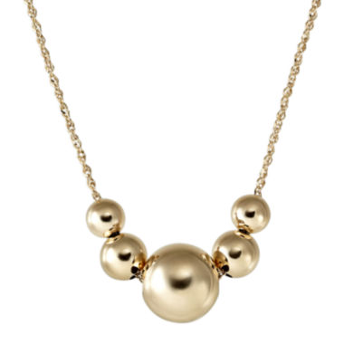jcpenney.com | 14K Yellow Gold Graduated Bead Frontal Necklace