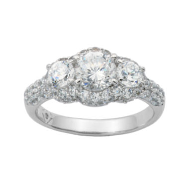 jcpenney.com | 100 Facets by DiamonArt® Sterling Silver 3-Stone Cubic Zirconia Cocktail Ring