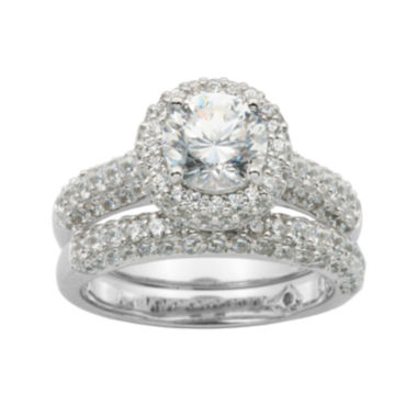 100 Facets by DiamonArt Sterling Silver Cubic Zirconia Bridal Ring Set