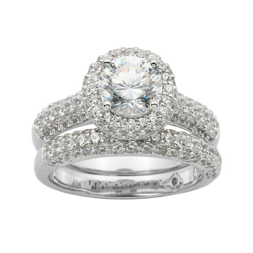 100 Facets by DiamonArt® Sterling Silver Cubic Zirconia Bridal Ring Set