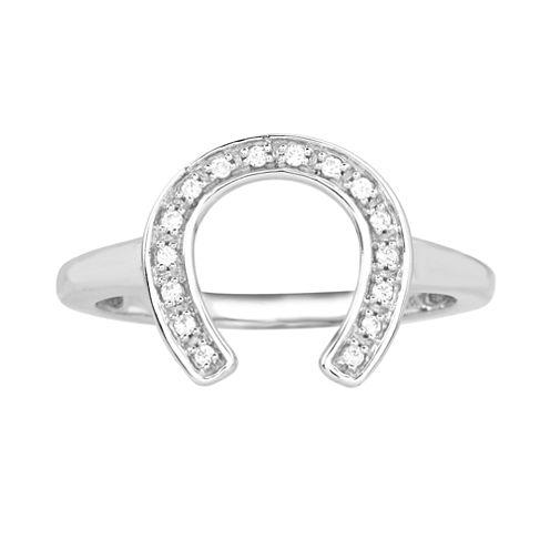 ASPCA® Tender Voices™ 1/10 CT. T.W. Diamond Horseshoe Ring