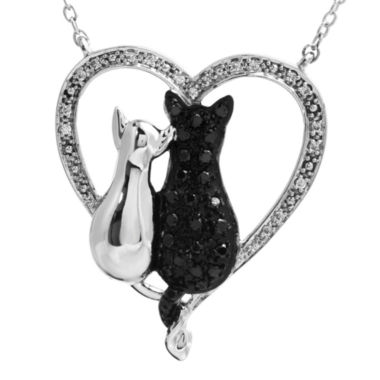 jcpenney.com | ASPCA® Tender Voices™ ⅓ CT. T.W. White & Color-Enhanced Black Diamond Cat Pendant Necklace