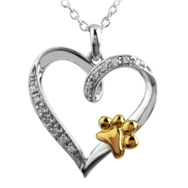 jcpenney.com | ASPCA® Tender Voices™ Diamond-Accent Paw Print Heart Pendant Necklace