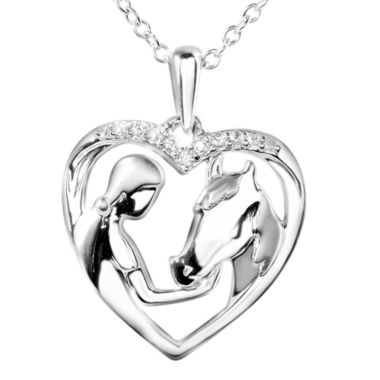 jcpenney.com | ASPCA® Tender Voices™ Diamond-Accent Woman & Horse Heart Pendant Necklace