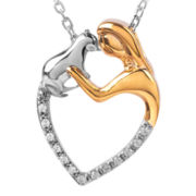 ASPCA® Tender Voices™ Diamond-Accent Woman & Cat Heart Pendant Necklace