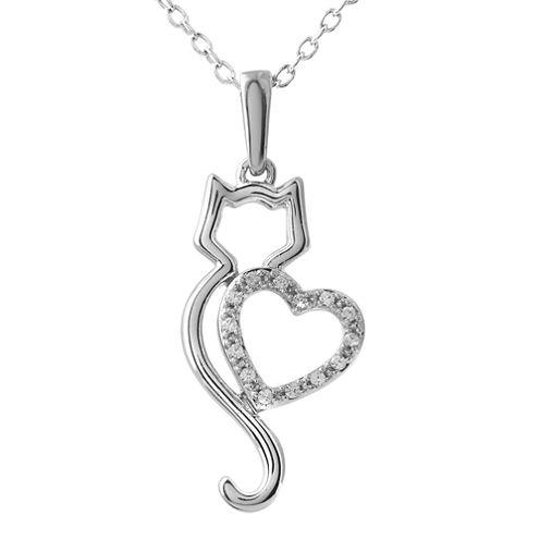 ASPCA® Tender Voices™ Diamond-Accent Cat Heart Pendant Necklace