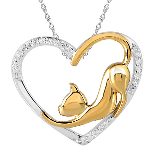 ASPCA® Tender Voices™ 1/10 CT. T.W. Diamond Cat Heart Pendant Necklace