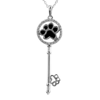 jcpenney.com | ASPCA® Tender Voices™ 1/10 CT. T.W. Diamond Paw Print Key Pendant Necklace