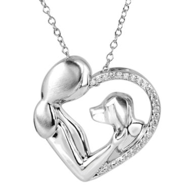 jcpenney.com | ASPCA® Tender Voices™ ⅛ CT. T.W. Diamond Woman & Dog Heart Pendant Necklace