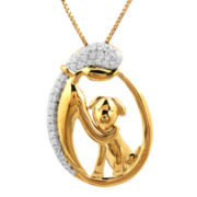 ASPCA® Tender Voices™ 1/10 CT. T.W. Diamond Woman & Dog Oval Pendant