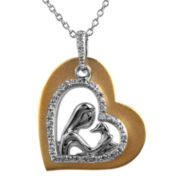 ASPCA® Tender Voices™ 1/10 CT. T.W. Diamond Woman & Dog Heart Pendant