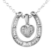 ASPCA® Tender Voices™ 1/5 CT. T.W. Diamond Heart Horseshoe Pendant