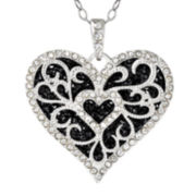 Sterling Silver Jet Crystal Filigree Heart Pendant Necklace