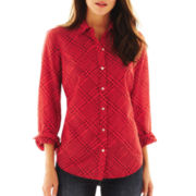 jcp™ Long-Sleeve Silk-Blend Shirt