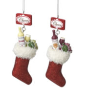 Set of 2 Wine Ornaments