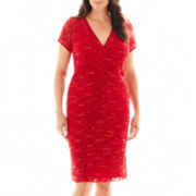 Scarlett Short-Sleeve Lace Dress - Plus