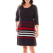 Studio 1 174 3 4 Sleeve Sweater Dress Plus