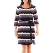 Danny & Nicole® 3/4-Sleeve Zigzag Belted Sweater Dress - Plus