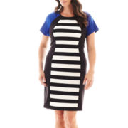 Ronni Nicole Short-Sleeve Colorblock Dress - Plus