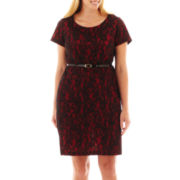 Alyx® Short-Sleeve Belted Lace Dress - Plus