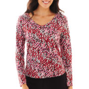 Liz Claiborne® Long-Sleeve Shirred V-Neck Tee - Tall