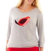 jcp™ 3/4-Sleeve Fine-Gauge Intarsia Sweater - Plus